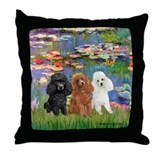 Lilies #2/3 Poodles (TM) Throw Pillow