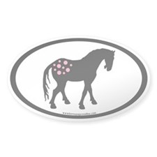 Pink Spots Cute Appy Oval Oval Sticker (50 pk)