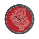 Asian Vase (Red) Wall Clock