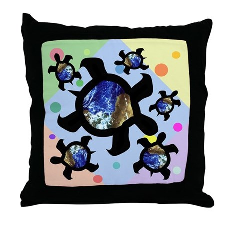Earthly Turtles Throw Pillow