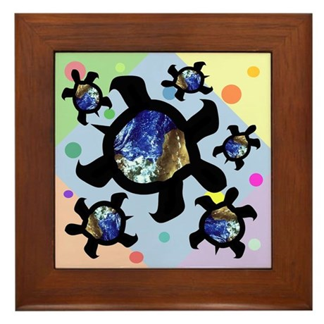 Earthly Turtles Framed Tile