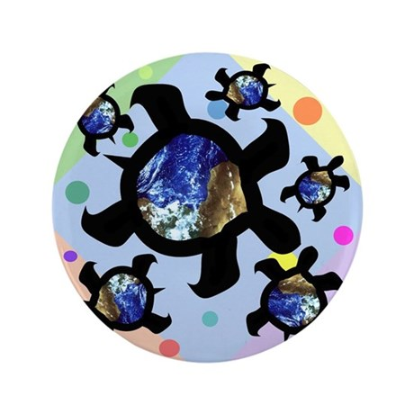 "Earthly Turtles 3.5"" Button"