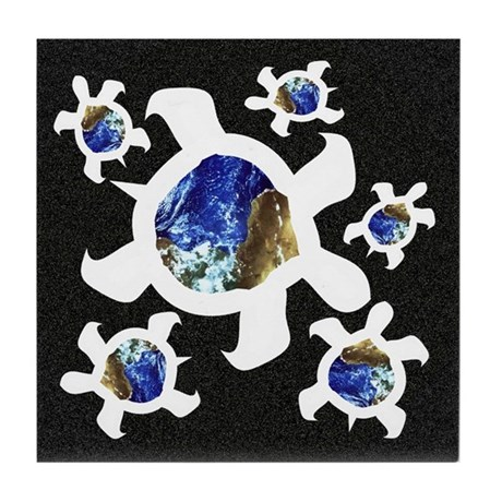Earthly Turtles Tile Coaster