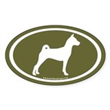 Basenji Dog Oval (white/sage green) Oval Bumper Stickers