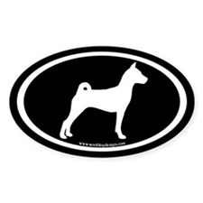 Basenji Dog Oval (white/blk) Oval Decal