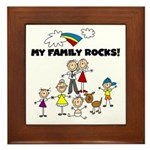 FAMILY STICK FIGURES Framed Tile