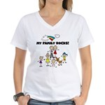 FAMILY STICK FIGURES Women's V-Neck T-Shirt