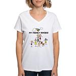 FAMILY STICK FIGURES Women's V-Neck T-Shirt