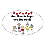 FAMILY STICK FIGURES Oval Sticker