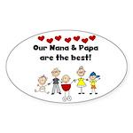 FAMILY STICK FIGURES Oval Sticker