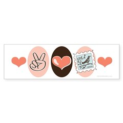 Peace Love Stamps Bumper Sticker