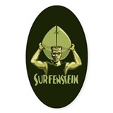 Surfing Halloween Frankenstein Oval Decal