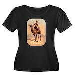 Camel Art Women's Plus Size Scoop Neck Dark T-Shir