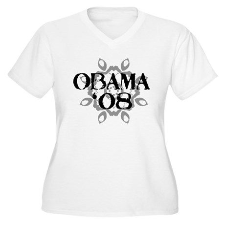 Obama '08 Women's Plus Size V-Neck T-Shirt