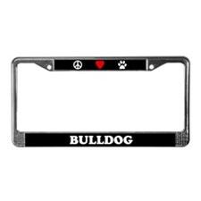Peace Love Bulldog License Plate Frame