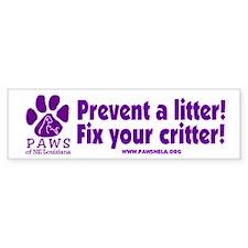 Prevent a Litter Bumper Bumper Sticker