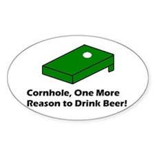 Cornhole and Beer Oval Sticker (10 pk)