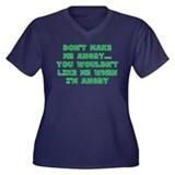 Don't Make Me Angry Women's Plus Size V-Neck Dark