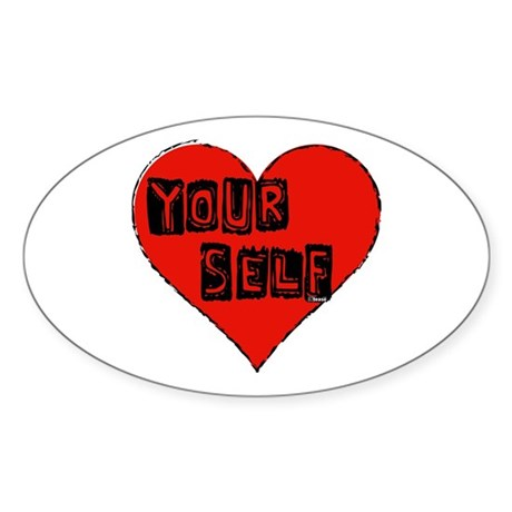 Love Yourself Heart round sticker