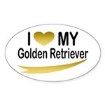 I Love My Golden Retriever Oval Sticker