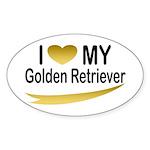I Love My Golden Retriever Oval Sticker