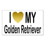 I Love My Golden Retriever Rectangle Sticker