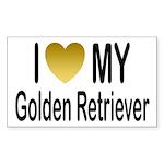 I Love My Golden Retriever Rectangle Sticker