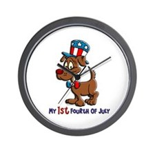 Patriotic Dog (1st Fourth Of July) Wall Clock