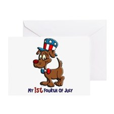 Patriotic Dog (1st Fourth Of July) Greeting Card