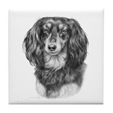Longhaired Dachshund #1 - Bla Tile Coaster