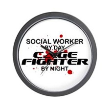 Social Wrker Cage Fighter by Night Wall Clock