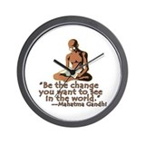 Gandhi Quote Be the Change Wall Clock
