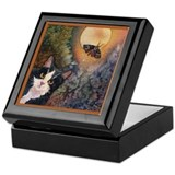 Tuxedo Cat, Moonlight, and Mo Keepsake Box