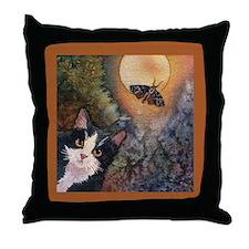 Tuxedo Cat, Moonlight, and Mo Throw Pillow