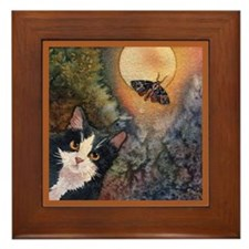 Tuxedo Cat, Moonlight, and Mo Framed Tile