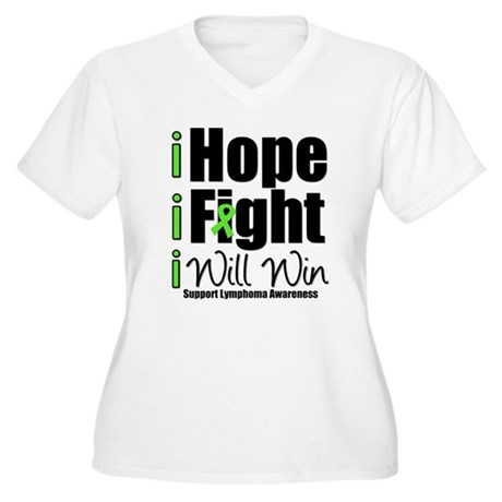 Hope, Fight Win (Lymphoma) Women's Plus Size V-Nec