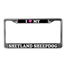 I Heart My Shetland Sheepdog License Plate Frame