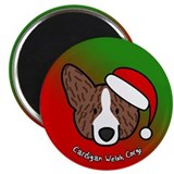 Cartoon Brindle Cardigan Corgi Christmas Magnet