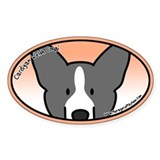Anime B&W Cardigan Welsh Corgi Oval Decal