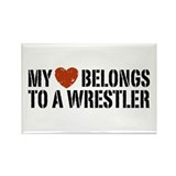 My Heart Belongs to a Wrestler Rectangle Magnet