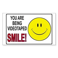 Security Camera Warning Rectangle Sticker 10 pk)