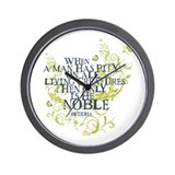Buddha Vine - Noble Text - Blue Green Wall Clock