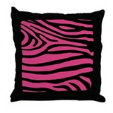 Zebra Striped Pillow in Fuschia and Black