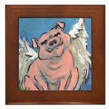 flying piggie 3 framed tile