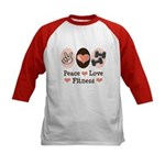Peace Love Fitness Kids Baseball Jersey