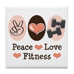 Peace Love Fitness Tile Coaster