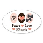Peace Love Fitness Oval Sticker (10 pk)