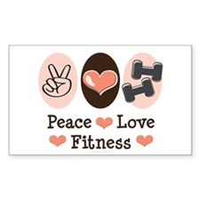 Peace Love Fitness Rectangle Decal
