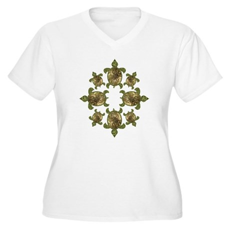 Garden Turtles Women's Plus Size V-Neck T-Shirt