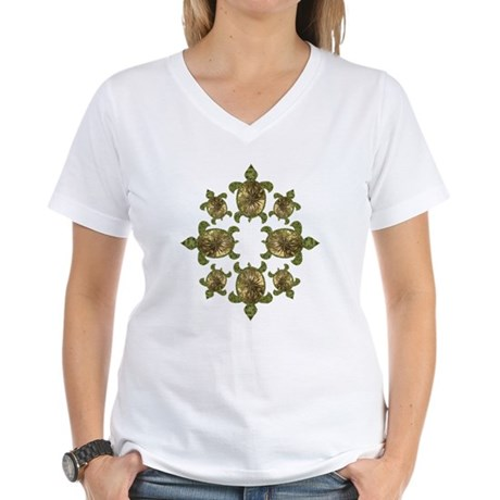 Garden Turtles Women's V-Neck T-Shirt